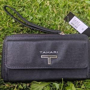 Women's Tahari Black Leather Wallet Wristlet NWT